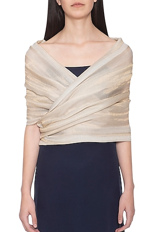 Off white embroidered zari reversible stole by Vilasa