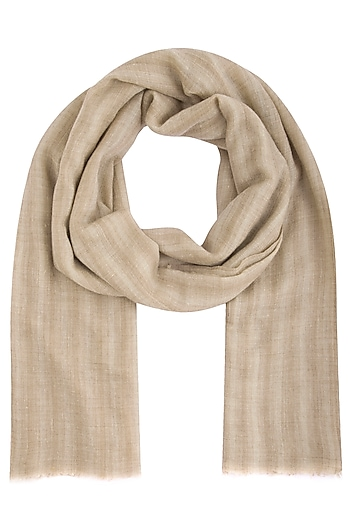 Light brown geometrical hand woven stole by Vilasa