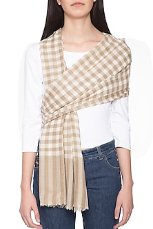 Light brown and off white geometrical hand woven stole by Vilasa