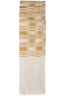 Ochre yellow geometric ikat stole by Vilasa