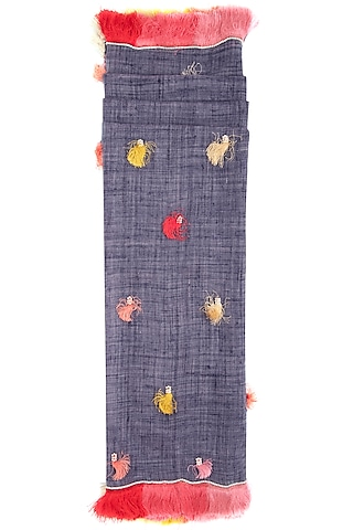 Blue embroidered fringe stole by Vilasa