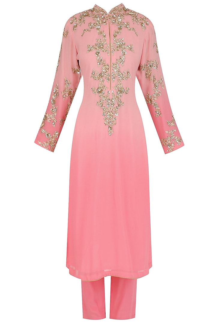 Pink Floral Embroidered Kurta and Pants Set by Virsa