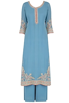 Blue Sequins Embroidered Kurta and Pants Set by Virsa