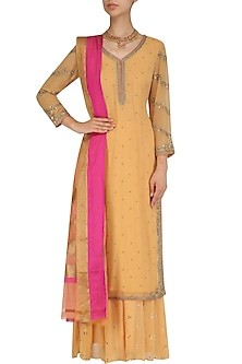 Orange Zardozi Embroidered Kurta and Palazzo Pants Set by Virsa