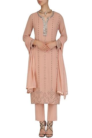 Pink Bead Embroidered Kurta and Narrow Pants Set by Virsa