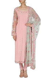 Pink Floral Embroidered and Mukaish Work Kurta Set by Virsa