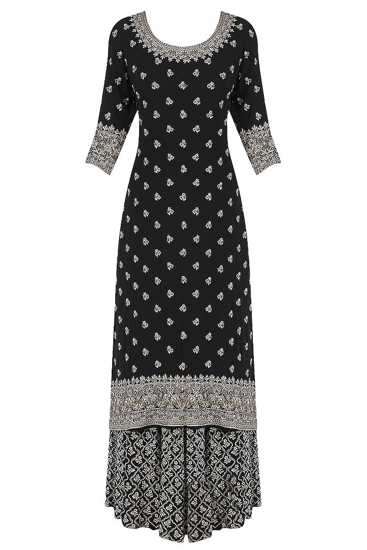Black Sequins Emrboidered Kurta and Sharara Pants Set by Virsa
