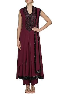 Wine and Black Sequins Embroidered Double Layered Kurta Set by Virsa