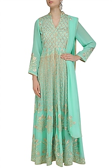 Teal Blue Floral Embroidered Anarkali and Pants Set by Virsa
