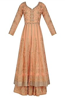 Peach Floral Embroidered Anarkali and Skirt Set by Virsa