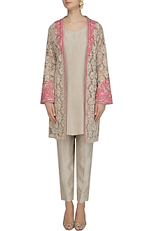 Beige and Pink Floral Embroidered Jacket, Tunic and Pants Set by Virsa