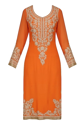 Orange Aari Embroidered Kurta by Virsa