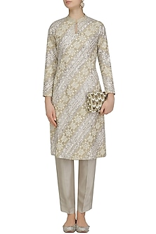 Beige Floral Embroidered Kurta and Pants Set by Virsa