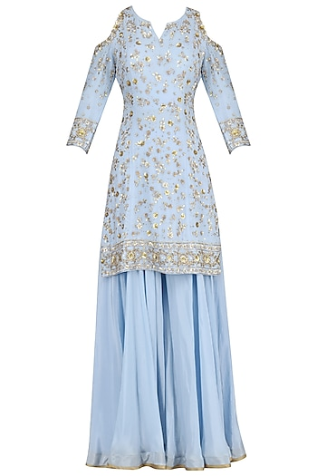 Blue Embroidered Short Kurta with Sharara Pants Set by Virsa