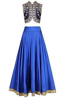 Navy Blue Embroidered Blouse and Lehenga by Virsa