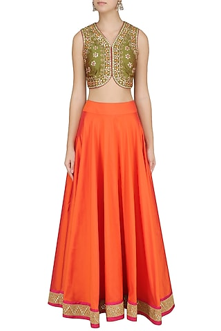 Green Embroidered Blouse and Lehenga by Virsa