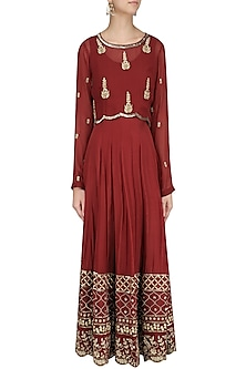 Maroon Embroidered Anarkali with Cape Set by Virsa