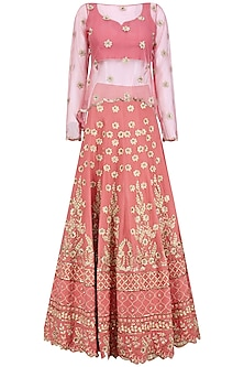 Old Rose Embroidered Lehenga and Cape Set by Virsa