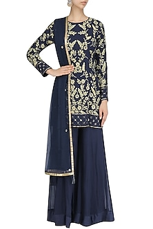 Navy Blue Embroidered Short Kurta and Palazzo Pants Set by Virsa