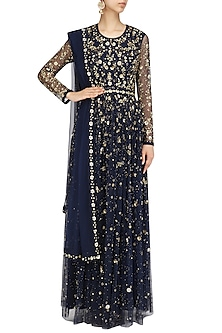 Navy Blue Embroidered Anarkali Set by Virsa
