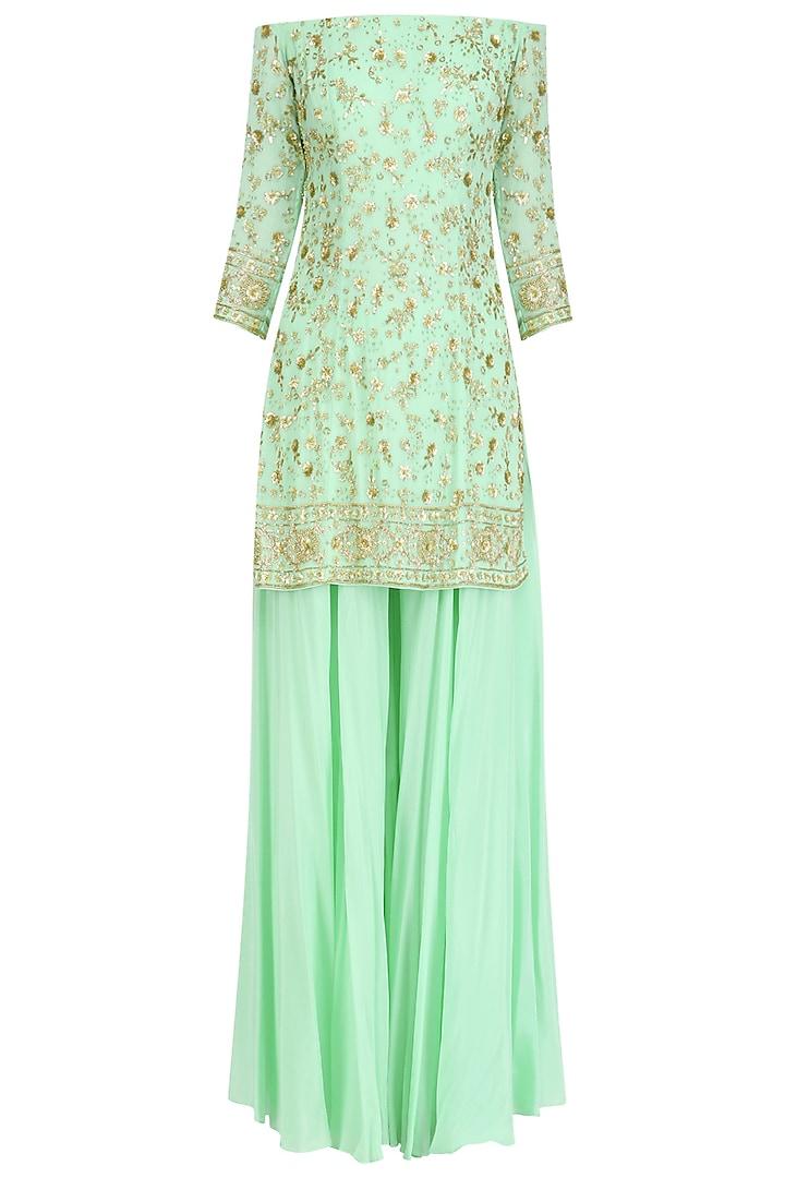Mint Green Off Shoulder Short Kurta and Sharara Pants Set by Virsa