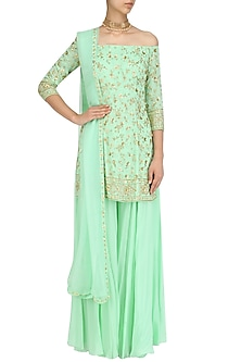 Mint Green Off Shoulder Short Kurta and Sharara Pants Set by Virsa