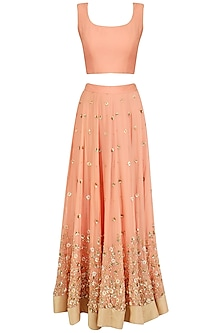 Peach Embroidered Lehenga Set by Virsa