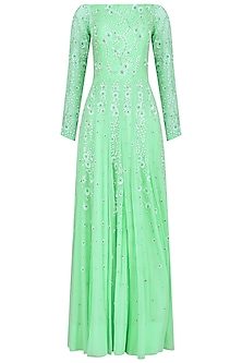 Mint Green Embroidered Off Shoulder Anarkali Set by Virsa
