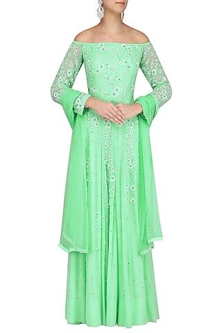 Mint Green Embroidered Off Shoulder Anarkali Set by Virsa