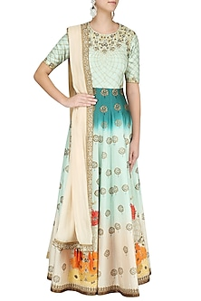Teal Rose Ombre Dyed Embroidered Anarkali Set by Virsa