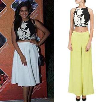 Black crop top with cream floral detailing by Ridhi Mehra