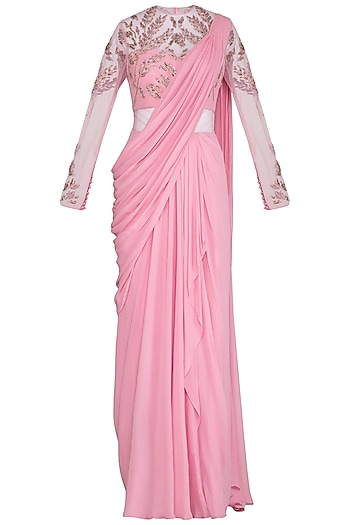 Salmon Pink Embroidered Saree Gown by VIVEK PATEL