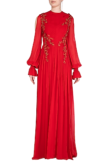Red Embroidered Bell Sleeves Gown by VIVEK PATEL