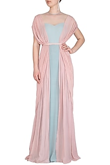 Pearl Pink & Frost Blue Gathered Draped Gown by VIVEK PATEL