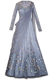 Stone Blue Embellished Ombre Lehenga Gown by VIVEK PATEL