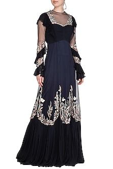 Midnight Blue Floral Embellished Gown by VIVEK PATEL