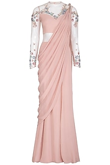 Pearl Pink Floral Embroidered Saree Gown by VIVEK PATEL