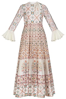 Ivory Handcrafted Embroidered & Printed Anarkali Gown by Vasansi Jaipur