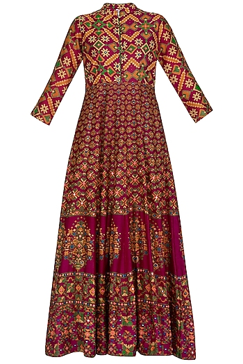 Red Handcrafted Embroidered & Printed Anarkali Gown by Vasansi Jaipur