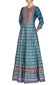 Blue Handcrafted Embroidered & Printed Anarkali Gown by Vasansi Jaipur