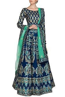 Blue Handcrafted Embroidered Lehenga Set by Vasansi Jaipur-Shop By Style