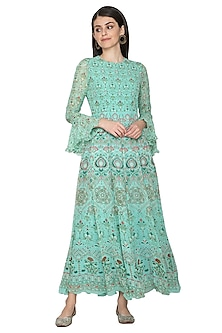 Turquoise Digital Printed Anarkali by Vasansi Jaipur