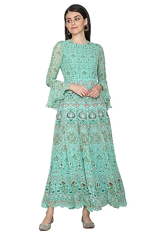 Turquoise Printed Georgette Anarkali by Vasansi Jaipur
