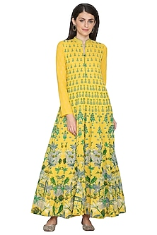 Yellow Printed Cotton Anarkali by Vasansi Jaipur