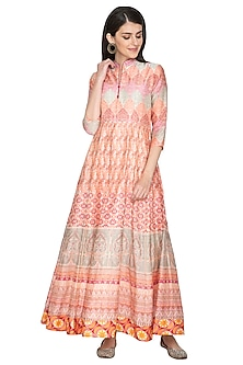 Orange Printed Silk Anarkali by Vasansi Jaipur