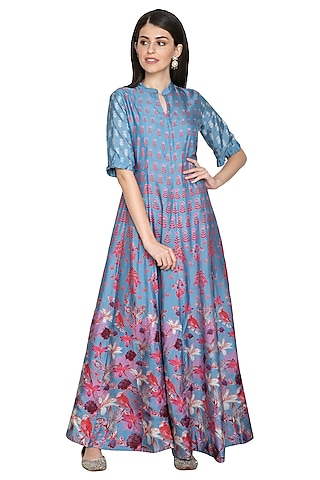 Blue Printed Silk Anarkali by Vasansi Jaipur