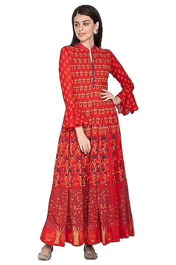 Red Printed Silk Anarkali by Vasansi Jaipur