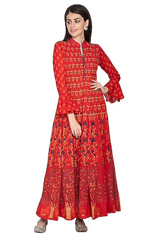 Red Printed Silk Anarkali by Vasansi Jaipur