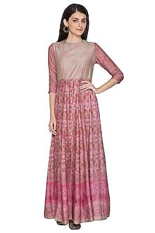 Pink Printed Silk Anarkali by Vasansi Jaipur
