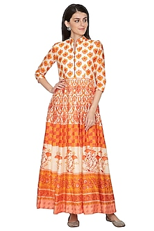 Orange Digital Printed Anarkali by Vasansi Jaipur